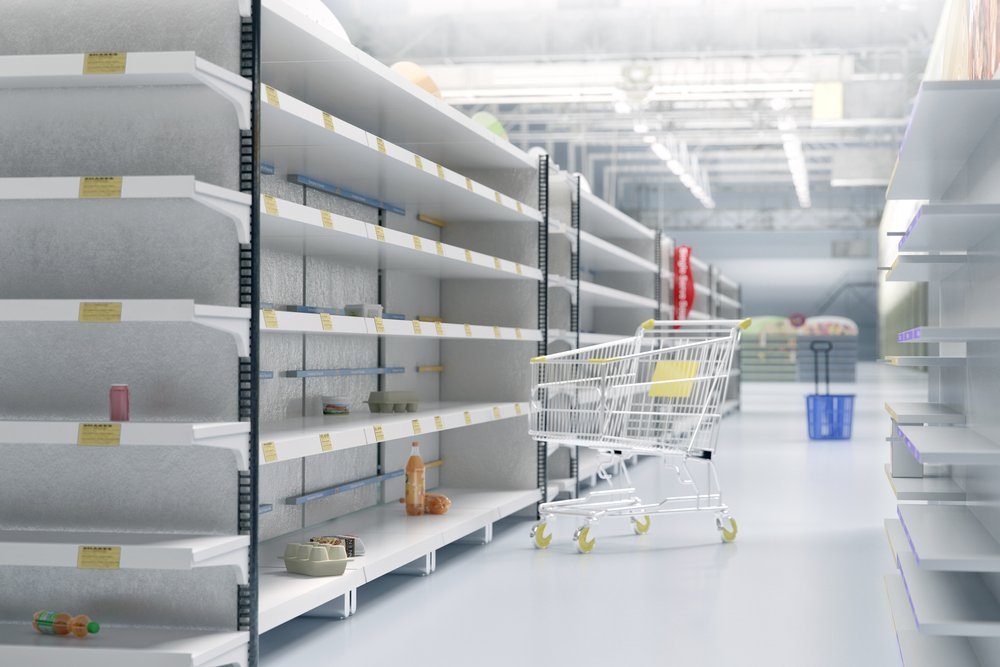 Empty shelves in supermarket store due to China novel coronavirus covid-19 (2019-nCoV) outbreak panic. Face masks are sold out
