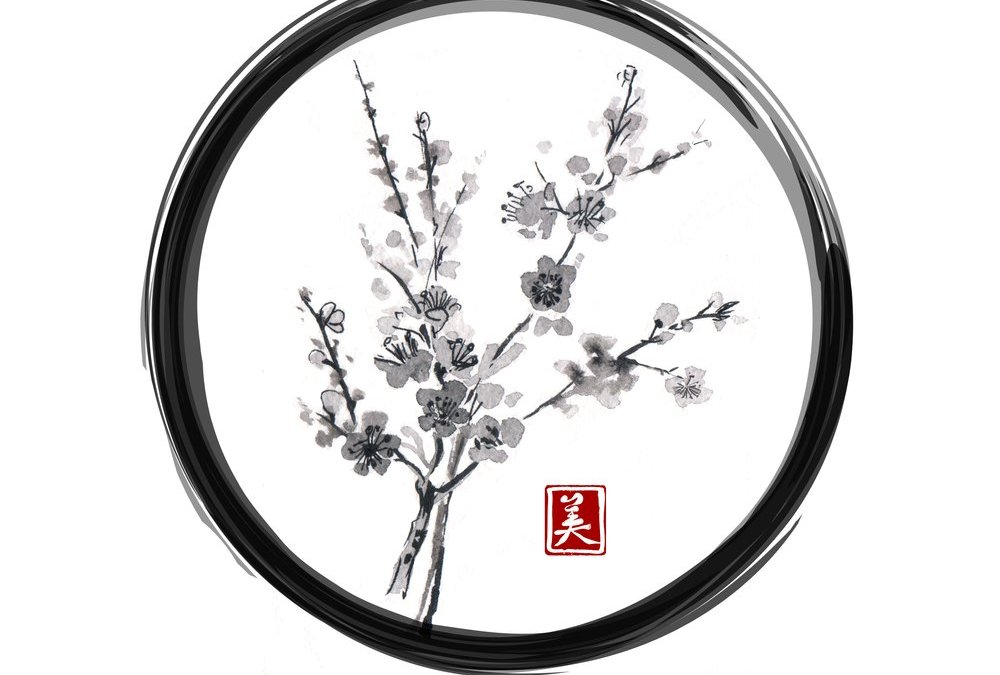 Oriental cherry sakura blossoming in black enso zen circle isolated on white background. Traditional ink painting sumi-e, u-sin, go-hua. Contains hieroglyph - beauty.