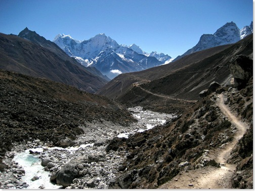 The winding and beautiful trails in Nepal's Himalayas