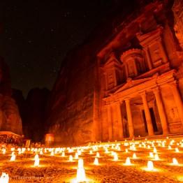 The Treasury at night, Petra, Jordan