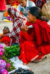Flowers At The Market, Kathmandu, Nepal