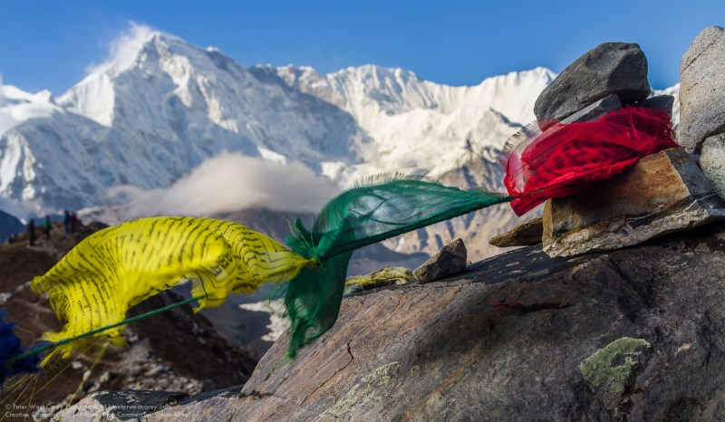Prayer Flags And Cho Oyu, Gokyo, Nepal, Asia