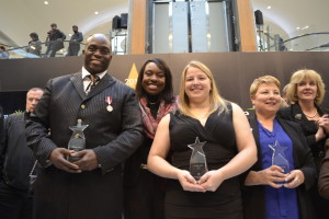 Farley Flex with Mitzie Hunter, Ontario Associate Minister of Finance (Ontario Retirement Pension Plan) and Sports honouree Cherie Piper gather at the Walk of Fame. Gerald V. Paul photo.
