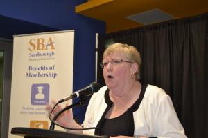 Marg Middleton, Scarborough Business Association, speaks at the inaugural meeting. Gerald V. Paul photo.