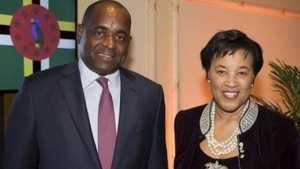 Dominica President Rosevelt Skerrit with Baroness Scotland.