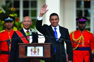 New PM Andrew Holness at his swearing in ceremony.