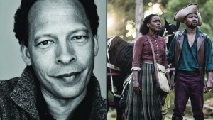 Book of Negroes author Lawrence Hill and a scene from the winning  mini-series of the same name.