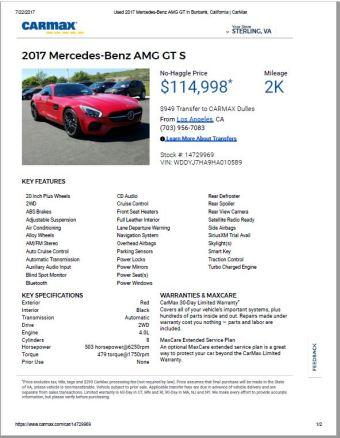 2017 AMG GT $114,998 2k
