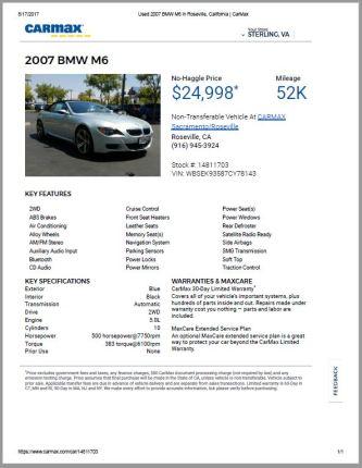2007 M6 $24,998 52k