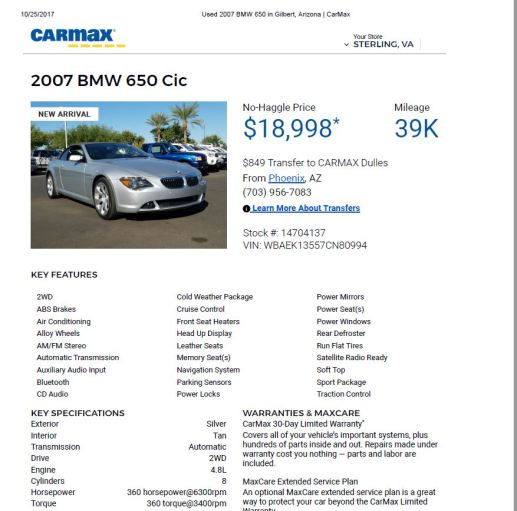 2007 BMW 650 CiC $18,998 39k