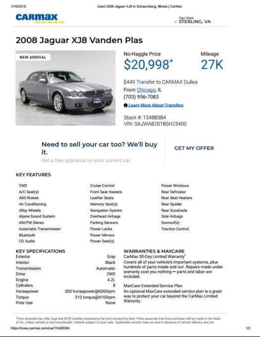 2008 Jaguar XJ8 Van Den Plas $20,998 27,000 miles