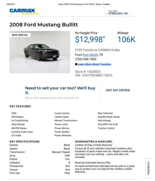 2008 Bullitt $12998 106k