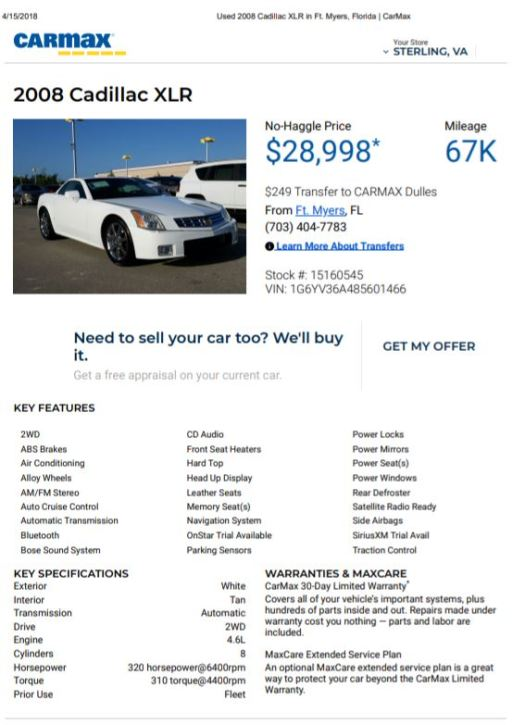 1 Of 1 250 2008 Cadillac Xlr Aka The Offspring Of Corvette And