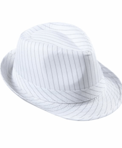 WHITE PINSTRIPED FEDORA