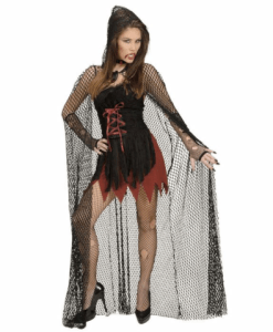 HOODED FISHNET CAPE