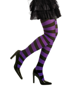 PURPLE/BLACK STRIPED PANTYHOSE