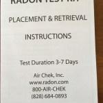 Radon Kit instruction