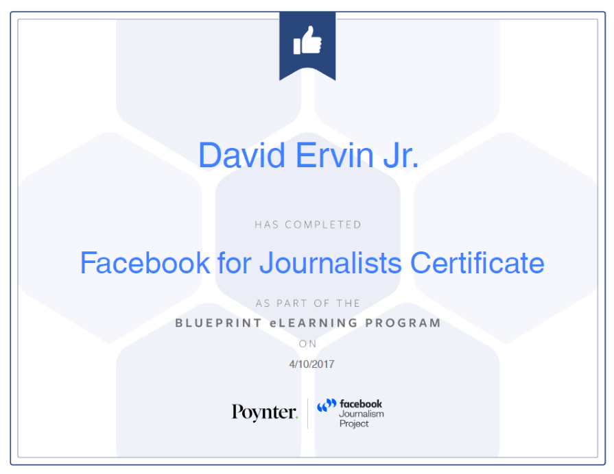 Facebook Journalists Certficate