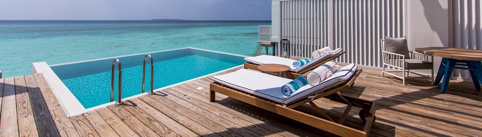 Room with lagoon view at Amilla Fushi