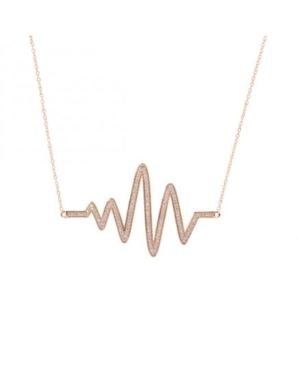 Sterling-Silver--Rose-Gold-plated-heartbeat-1ct-Cubic-Zirconia-necklace