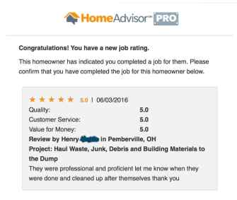 5 Star Review for Junk Removal from Home Advisor Customer