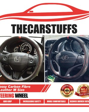 Glossy Carbon Fiber Red Ring With Stitches Steering Wheel Cover