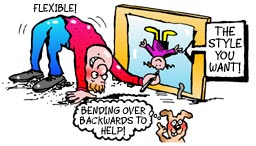 cartoon of guy bending over backwards