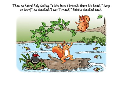 children's book illustration - squirrel stranded on a log in the middle of the river