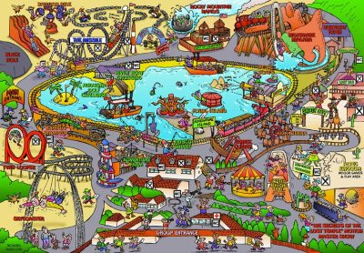 cartoon map of American Adventure theme park