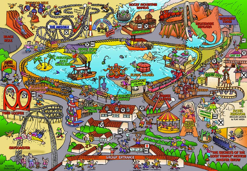 cartoon map of American Adventure theme park