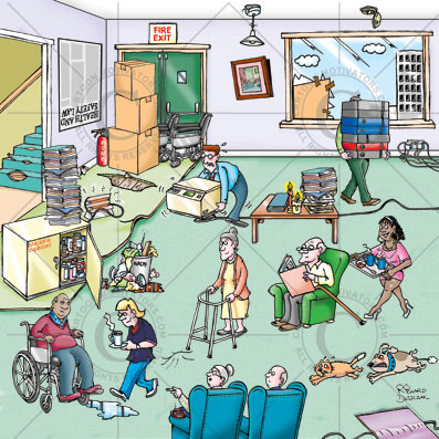 hazard spotting cartoon - carehome cartoon with hazards illustrated