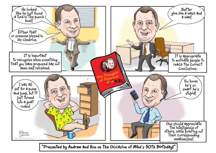 caricature in cartoon strip format, the thoughts of Chairman Mike, guy in office, feet up on desk