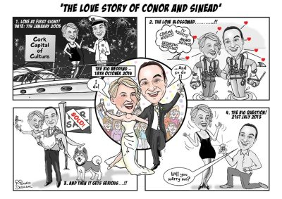 cartoon strip of wedding story