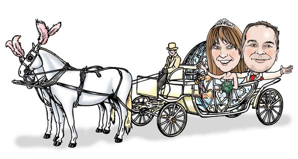 wedding caricature of couple in wedding carriage