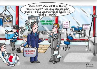 cartoon of an office being emptied by creditors - all taking office equipment away