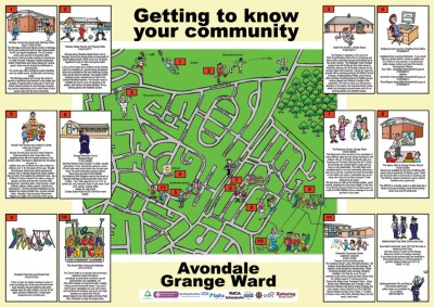 cartoon map - getting to know your community - Avondale Grange Ward. Different activities available in the area