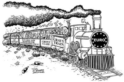 cartoon of the Gravy Train with EURO on the front of the train, carriages behind the train have passengers hanging out of windows