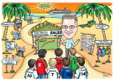 caricature drawn from a photo, beach scene with guy as a salesman teaching footballers how to sell