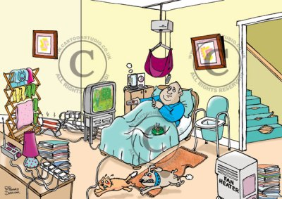 care-home-hazard-spotting cartoon, safety cartoon on home care, guy in bed smoking, overloaded electrical socket, clothes drying near electric heater possible fire hazard, dog chasing cat, ripped carpet trip hazard