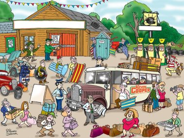 olden dates cartoon of old motor garage, old petrol pumps, cars and people walking about