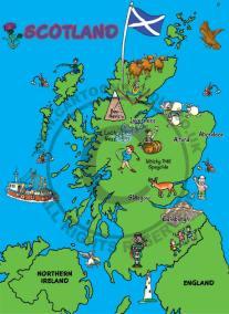 cartoon map of Scotland, golfer, highland cattle, whiskey barrels, fishing trawler