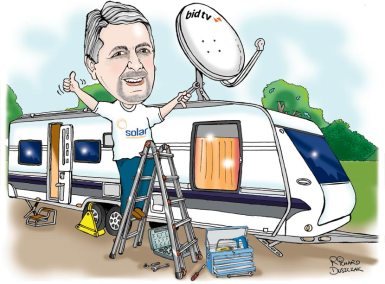 caricature of a guy up a step ladder putting a satellite dish on top of the caravan, toolbox and tools on the ground
