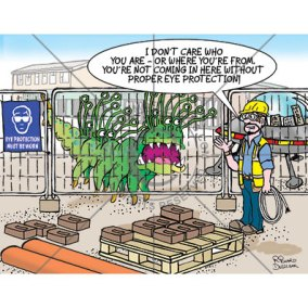 health and safety cartoon of a martian wanting to come on a building site. Safety manager says he needs eye protection