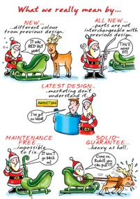 Company christmas card design for Product Matters five frame cartoon of Santa doing various things