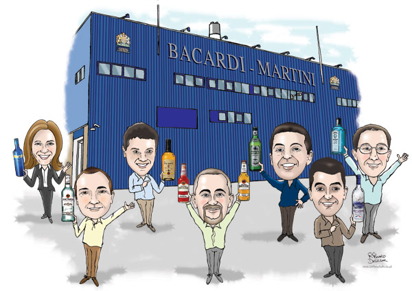 caricature of Bacardi Martini team outside their main building holding up bottles of their products