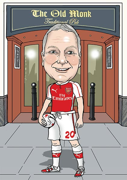 caricature of footballer outside a pub called The Old Monk traditional pub, dressed in Arsenal football kit holding a football in one arm