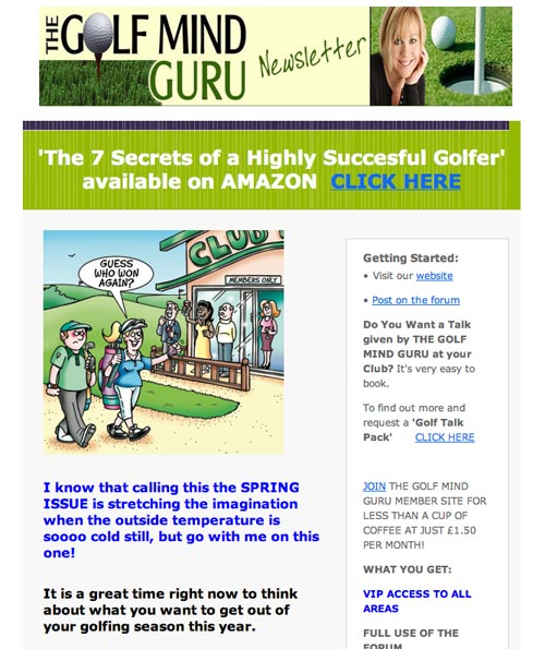golf cartoon for Golf Guru email campaign, golfers return to club house she says to waiting golfers as her opponent looks really miserable. Guess who won again?