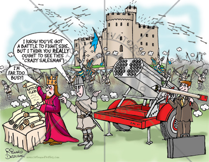 crazy salesman cartoon, battle going on in the background. Salesman is trying to sell a rocket launcher and heavy artillery that will definitely win the war. King is too busy to see him