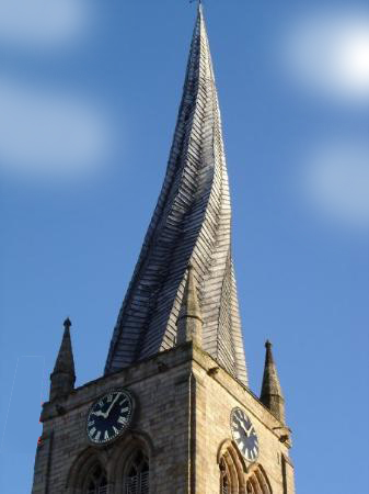 photo of the Crooked Spire Church in Chesterfield - twisted spire