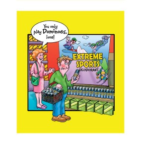 greetings card deisgn of a guy doing his shopping for a deodorant for extreme sports, he's only playing dominoes